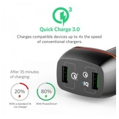 ANKER A2224611 PowerDrive+ 2 42W Car Charger 2 USB Port with Quick Charge 3.0 - Black [TKU]