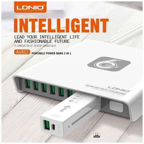 LDNIO A6802 6-USB Port 40W Desktop Charger with Power Bank 2600mAh [TKU]