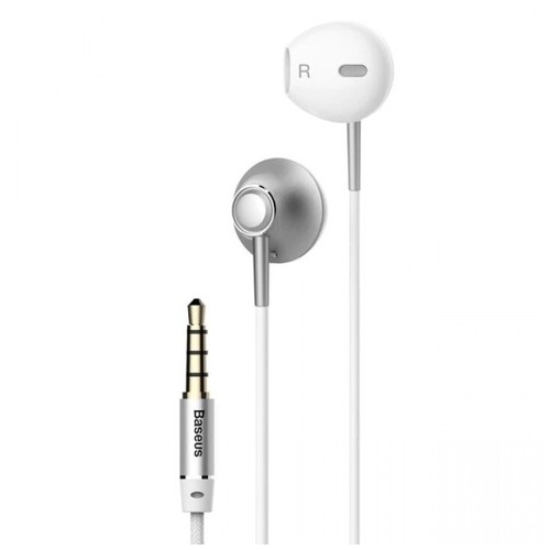 BASEUS ENCOK H06 - 3.5mm In-ear HIFI 6D Stereo Bass Wired Earphone Silver [TKU]