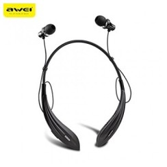 AWEI A810BL In-Ear Stereo Sport Headset for iPhone Samsung Xiaomi Wireless Bluetooth 4.0 Smart Business Earphone Headphones with Micro Black [TKU]
