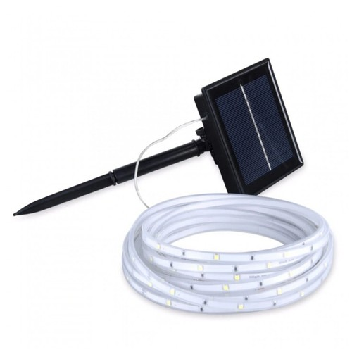 Solar Power Flexible LED Ribbon Tape Light Outdoor Decor Strip - 3M White [TKU]
