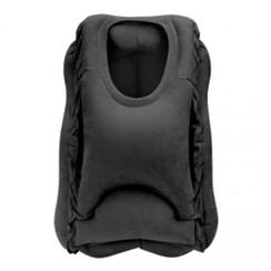 Inflatable Air Cushion Neck Support Pillow Travel Camping Nap - Bantal Tidur Travel Portable Black [TKU]