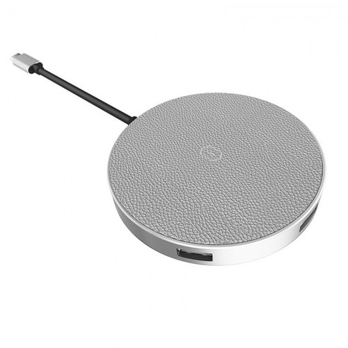 WIWU APOLLO A641WC - 5-in-1 USB-C Hub and Fast Charge Wireless Charger Silver [TKU]