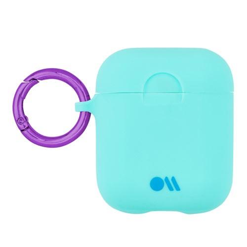 AirPods Hook Ups Case & Neck Strap - Aqua Blue/Metallic Purple