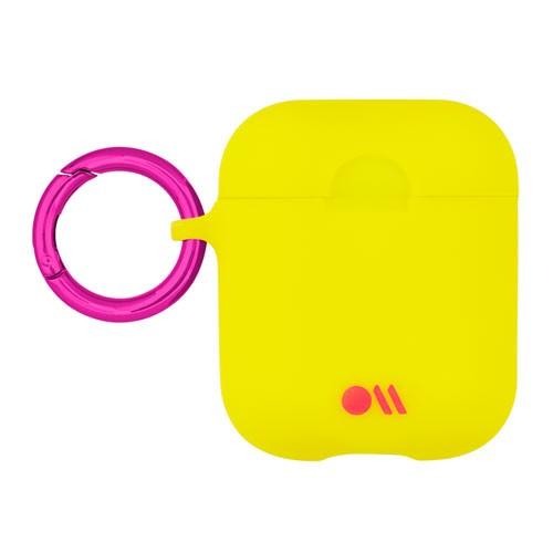 AirPods Hook Ups Case & Neck Strap - Lemon Lime Yellow/Metallic Pink