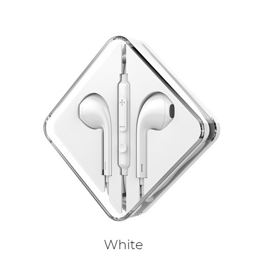 Hoco M55 Memory Sound Wired Control Earphones with Mic - White