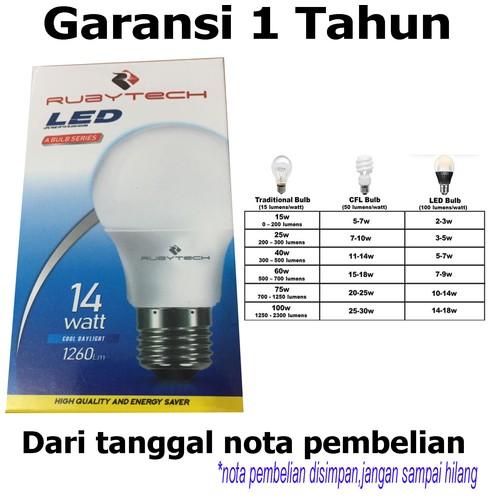 RUBYTECH Bohlam LED 14 watt putih garansi 1 tahun dengan 1260 lumen lebih terang hemat listrik SNI