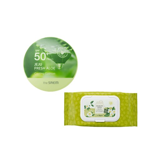 Healing Tea Garden Green Tea Cleansing Tissue + Jeju Fresh Aloe Cooling Cushion Natural Beige