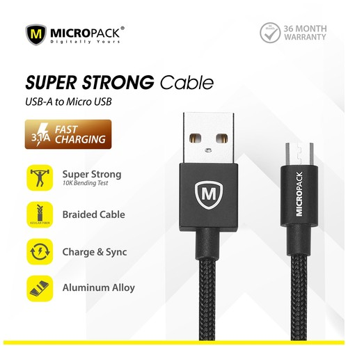 MicroPack USB A to micro USB cable 1 Meter MC-310 Black