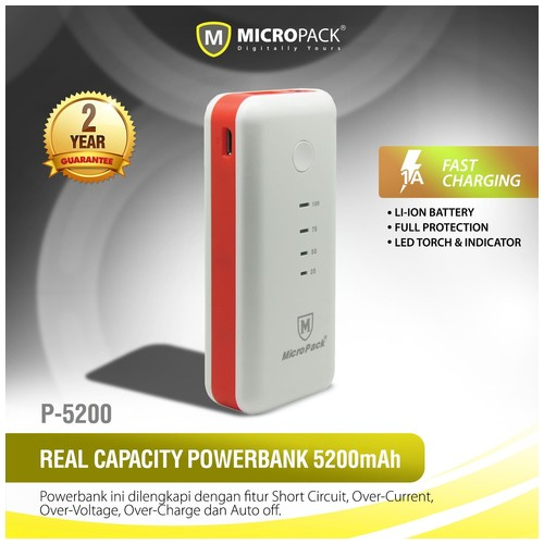 MIcroPack Power Bank P5200 (5200mAh) - White Red