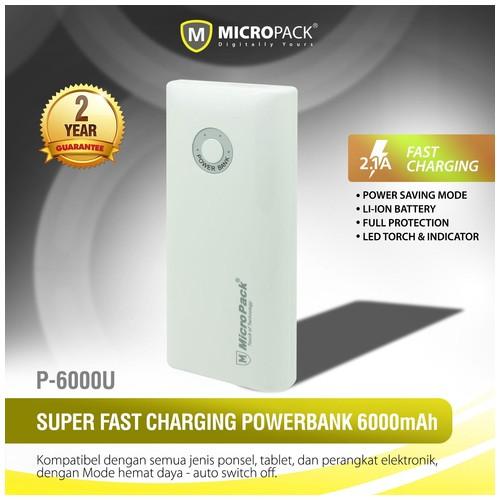 MicroPack Power Bank P6000U - White