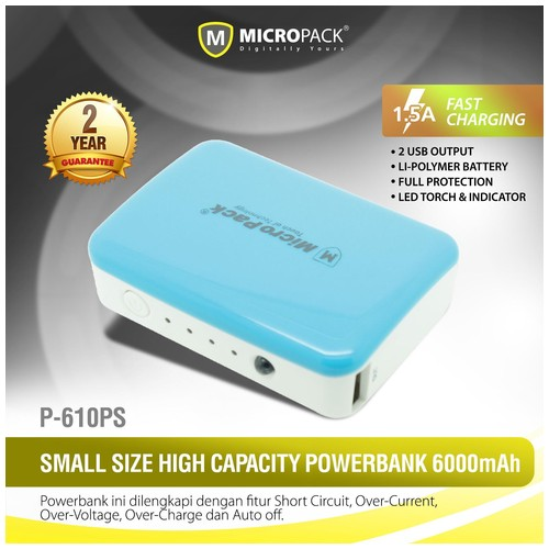 MicroPack Power Bank P610PS - Blue