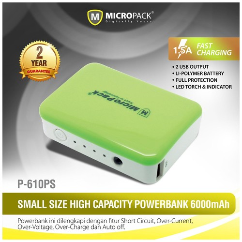 MicroPack Power Bank P610PS - Green