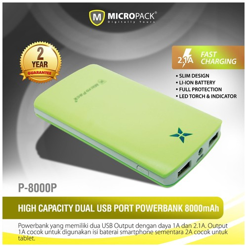 MicroPack Power Bank P8000P - Green