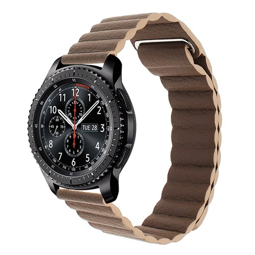 Magnetic Loop Leather  Series Strap for Smartwatch 22mm Brown