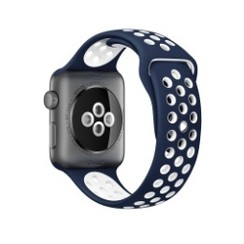 Sporty Rubber Series for Apple Watch 42-44mm Navy Blue White