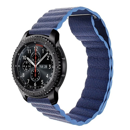 Magnetic Loop Leather  Series Strap for Smartwatch 20mm Navy Blue
