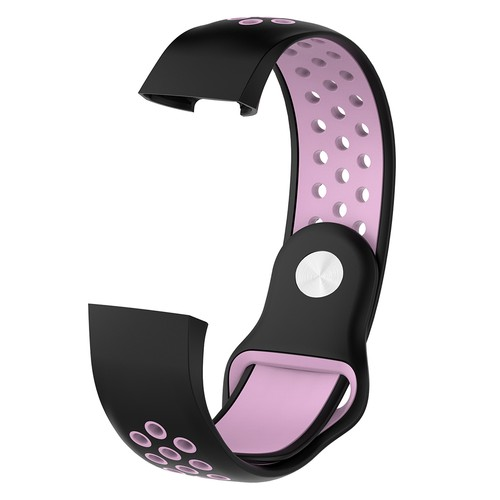 Notale Sporty Rubber Series for Fitbit Charge 3 Watch Black Pink