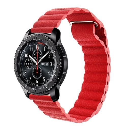 Magnetic Loop Leather  Series Strap for Smartwatch 22mm Red