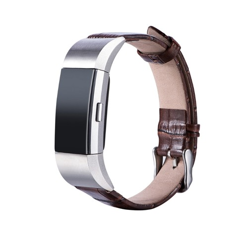 Notale Aligathor Leather Series Strap For Fitbit Charge 3 Watch Brown