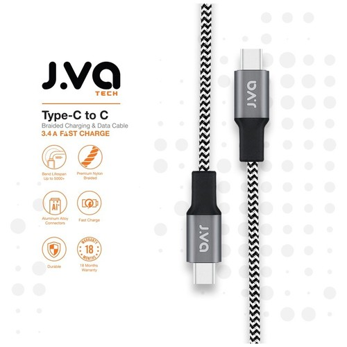 J.VA Tech Type-C to C 1.0m, Braided Charging & Data Cable Black