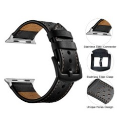 Seventh Leather Series for Apple Watch 42-44mm Black Brown