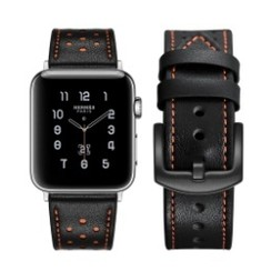 Seventh Leather Series for Apple Watch 42-44mm Black Orange
