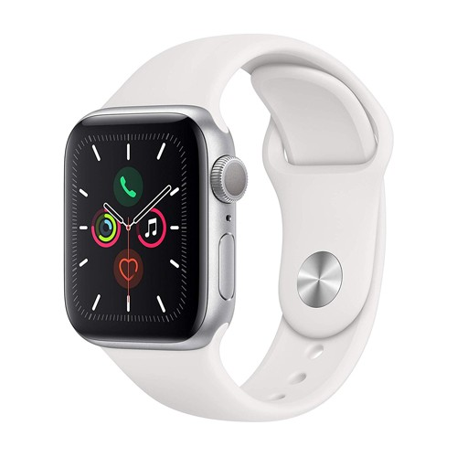 Apple Watch Series 5 GPS 40mm Silver Aluminium Case with White Sport Band (MWV62ID/A)