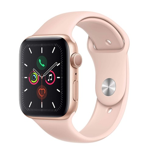Apple Watch Series 5 GPS, 44mm Gold Aluminium Case with Pink Sand Sport Band - S/M & M/L (MWVE2ID/A)