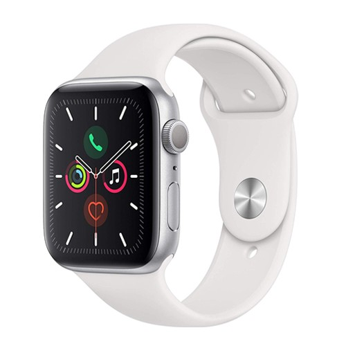 Apple Watch Series 5 GPS 44mm Silver Aluminium Case with White Sport Band - S/M & M/L (MWVD2ID/A)