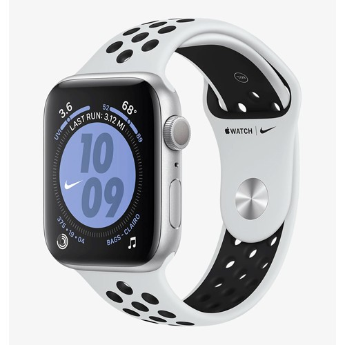 Apple Watch Nike Series 5 GPS 44mm Silver Aluminium Case with Pure Platinum/Black Nike Sport Band - S/M & M/L (MX3V2ID/A)