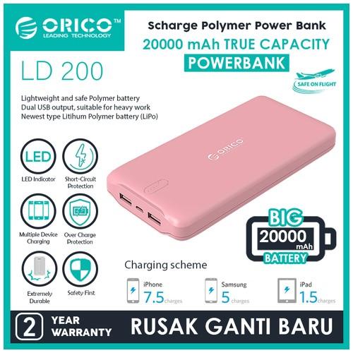 Orico LD200 20000mAh Scharge Polymer Power Bank - Pink