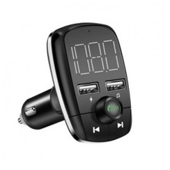 T50 - Bluetooth Handsfree MP3 FM Transmitter Dual USB Port Car Charger Black