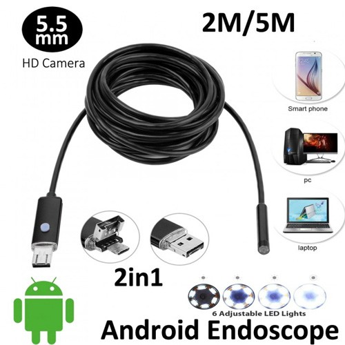 AN99 6-LED 5.5mm Lens IP67 Waterproof Android Video Endoscope Borescope Snake USB Cable 2M Inspection Camera [TKU]