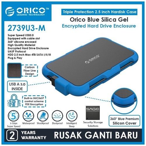 ORICO 2.5-Inch Hard Drive Enclosure with Encryption - 2739U3-M
