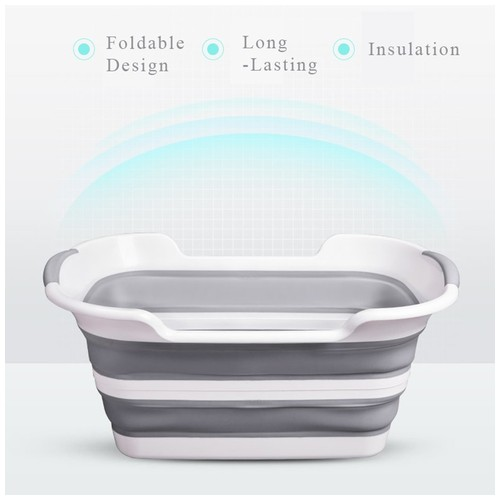 Portable Foldable Silicone Non-Slip Bath Tub for Baby Shower and Pets White