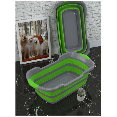 Portable Foldable Silicone Non-Slip Bath Tub for Baby Shower and Pets Green