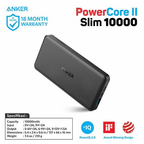 Quick Charge 3.0 Anker PowerCore II Slim 10000mAh Black - A1261