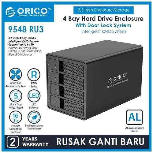 Orico Aluminum 4 bay 3.5 inch USB3.0 & SATA RAID Hard Drive Enclosure (9548RU3)