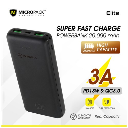 Micropack Power Bank ELITE 20000mAh With Power Delivery PB-20K-PD