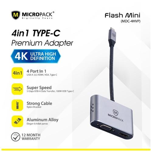 Micropack Data Converter Flash Mini Multi USB C Adapter MDC-4HVP-SL