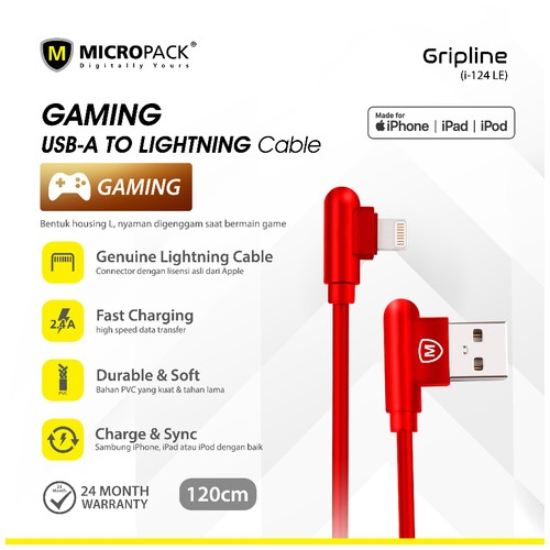 Micropack Gripline Lightning Gaming Cable i-124 RED