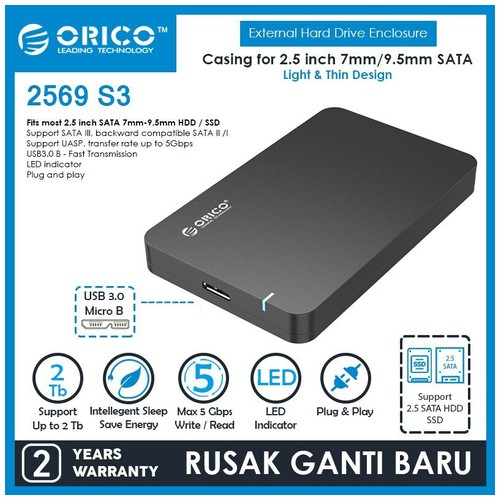 Orico Portable 2.5 inch SATAIII USB3.0 External HDD Enclosure (2569S3) - Black
