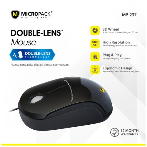 Micropack Wired Mouse Double Lens (MP-237) Grey