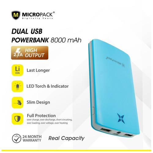 MicroPack Power Bank P8000P - Blue