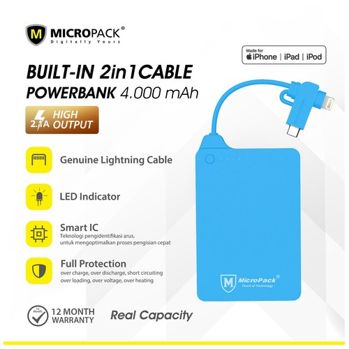 Power Bank 4000 mAh with Micro USB & Lightning MicroPack P4000i Blue