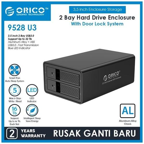 Orico Aluminum 2 bay 3.5 SATA to USB3.0 External Hard Drive Enclosure (9528U3)