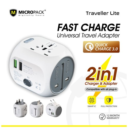 Micropack Travel Adapter Universal Traveller LITE With QC 3.0