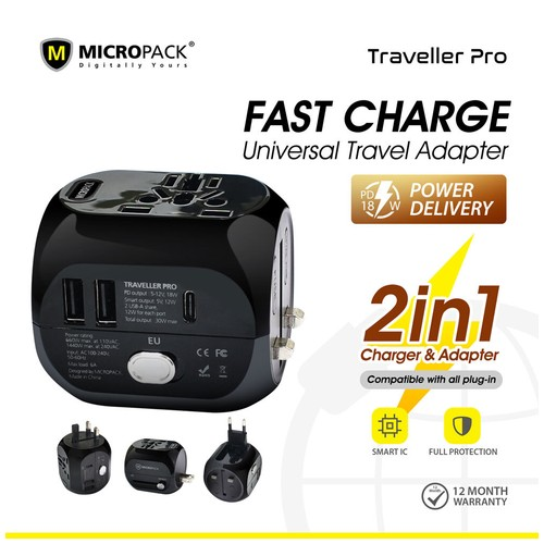 Micropack Travel Adapter Traveller PRO With Power Delivery MTA-318PD