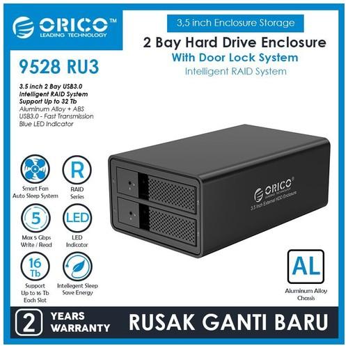 Orico 9528RU3 BK, 2 bay 3.5' HDD RAID enlcosure, USB3.0 HDD enclosure